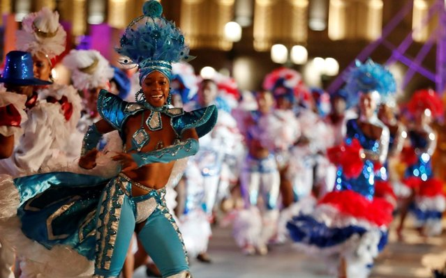 Dancers perform outside the National Capitol Building during the celebration of the 500th anniversary of Havana's foundation, in Havana, Cuba, 16 November 2019. Cuba celebrated 500 years since the founding of the city of San Cristobal de La Habana by Spaniard Diego Velazquez de Cuellar in 1519. (Photo by Ernesto Mastrascusa/EPA/EFE/Rex Features/Shutterstock)