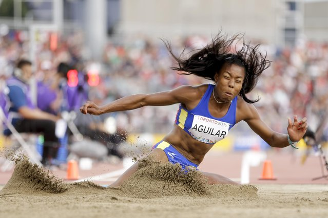 Colombia's Evelis Aguilar competes in the women's heptathlon long jump at the Pan Am Games Saturday, July 25, 2015, in Toronto. (Photo by Mark Humphrey/AP Photo)