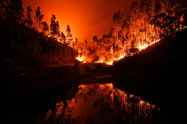 A wildfire is reflected in a stream at Penela, Coimbra, central Portugal, on June 18, 2017. A wildfire in central Portugal killed at least 25 people and injured 16 others, most of them burning to death in their cars, the government said on June 18, 2017. Several hundred firefighters and 160 vehicles were dispatched late on June 17 to tackle the blaze, which broke out in the afternoon in the municipality of Pedrogao Grande before spreading fast across several fronts. (Photo by Patricia De Melo Moreira/AFP Photo)