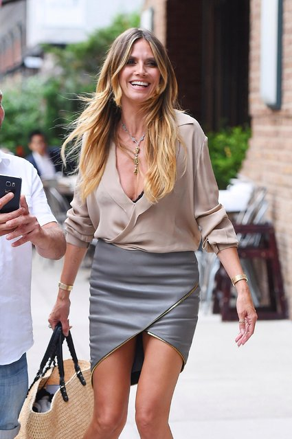 Heidi Klum seen leaving Good Morning America on July 06, 2017 in New York, New York. (Photo by Josiah Kamau/BuzzFoto via Getty Images)