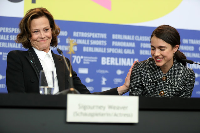 """(L-R) Sigourney Weaver and Margaret Qualley are seen at the """"My Salinger Year"""" press conference during the 70th Berlinale International Film Festival Berlin at Grand Hyatt Hotel on February 20, 2020 in Berlin, Germany. (Photo by Andreas Rentz/Getty Images)"""
