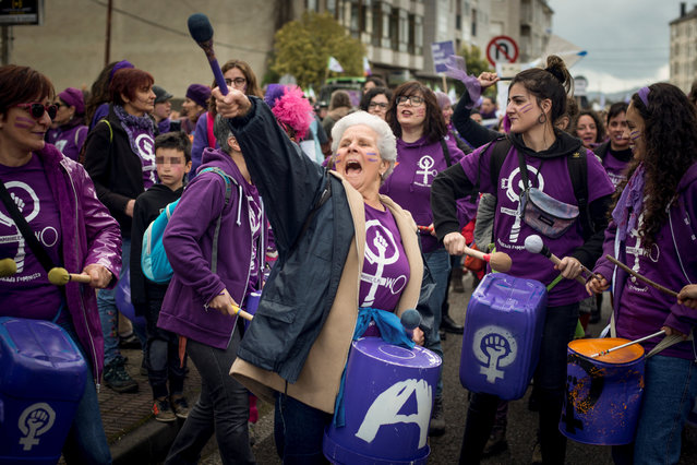 Several hundred women take part in a march to celebrate the women's role to manage the reopening of a delivery room in the city of Verin, Ourense, northwestern Spain, 01 March 2020. The rally is held ahead of Women's Day, marked on 08 March. (Photo by Brais Lorenzo/EPA/EFE)