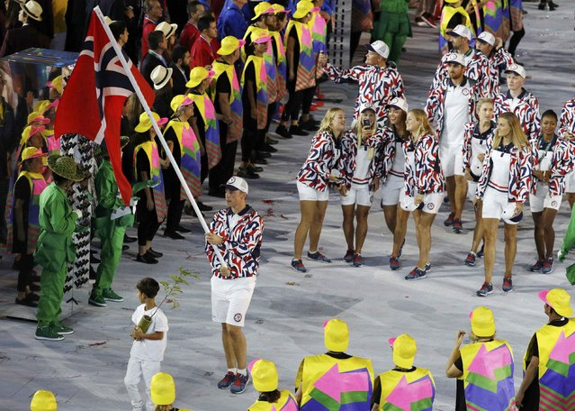 2016 Rio Olympics, Opening ceremony, Maracana, Rio de Janeiro, Brazil on August 5, 2016. Flagbearer Ole Kristian Bryhn (NOR) of Norway leads his contingent during the opening ceremony. (Photo by Stoyan Nenov/Reuters)