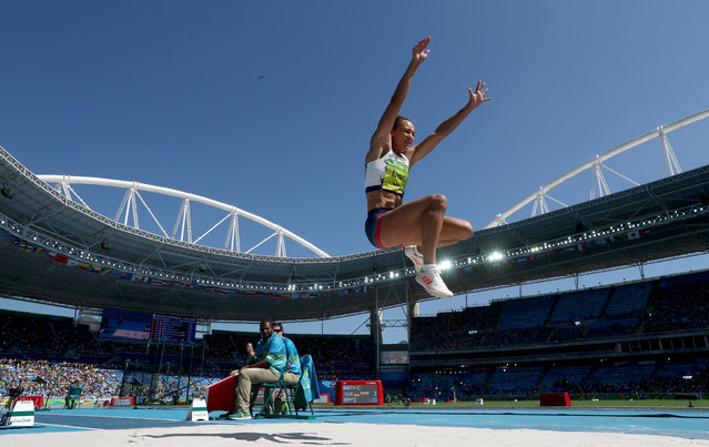 Jessica Ennis-Hill of Great Britain competes in the Women's Heptathlon Long Jump on Day 8 of the Rio 2016 Olympic Games at the Olympic Stadium on August 13, 2016 in Rio de Janeiro, Brazil. (Photo by Alexander Hassenstein/Getty Images)