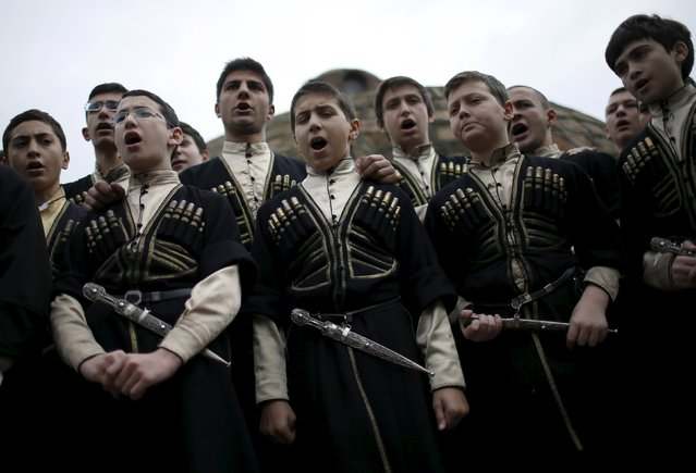 Young singers perform during the annual Tbilisoba festival, celebrating Tbilisi City Day in Tbilisi, Georgia, October 17, 2015. (Photo by David Mdzinarishvili/Reuters)