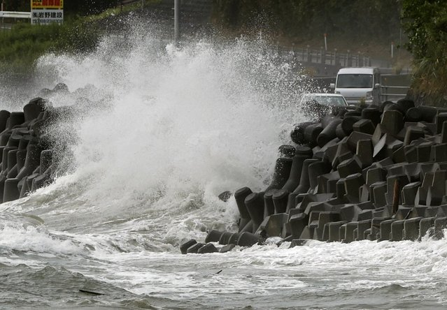 High waves pound the coast of the Kagoshima city, southwestern Japan Sunday, September 6, 2020. The second powerful typhoon to slam Japan in a week unleashed fierce winds and rain on southern islands on Sunday, blowing off rooftops and leaving homes without power as it edged northward into an area vulnerable to flooding and mudslides. (Photo by Takuto Kaneko/Kyodo News via AP Photo)