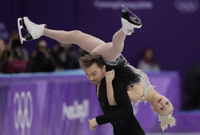 Penny Coomes and Nicholas Buckland of Britain perform during the ice dance, short dance figure skating in the Gangneung Ice Arena at the 2018 Winter Olympics in Gangneung, South Korea, Monday, February 19, 2018. (Photo by Julie Jacobson/AP Photo)