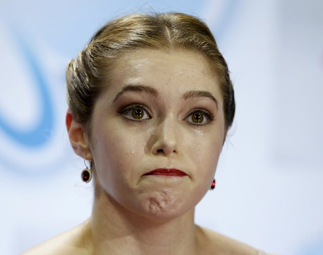 Alaine Chartrand of Canada reacts in the kiss and cry area following her performance during the ladies free skating program at the Skate America figure skating competition in Milwaukee, Wisconsin October 24, 2015. (Photo by Lucy Nicholson/Reuters)