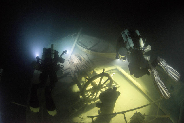 Schott, a professional underwater photographer, camera operator, and technical diving instructor, says that the dangerous dive was something that they had planned for carefully. (Photo by Becky Kagan Schott/Caters News Agency)