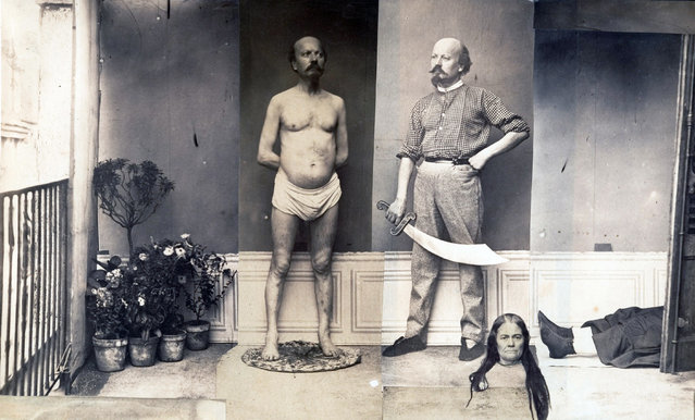 """Scene of Murder and Decapitation"" by Unknown, French, ca. 1870. One can only guess at the strange psychosexual narrative that lay behind the making of this image and others in a private album that featured a small cast of characters repeatedly bound, beheaded, or burned at the stake, sometimes at the hands of their own doppelgangers. (Photo courtesy of The Metropolitan Museum of Art)"