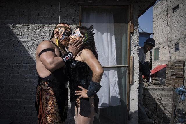 Xenia at home with her new husband, Piel Roja. Mexico City. (Photo by Diana Bagnoli/The Washington Post)