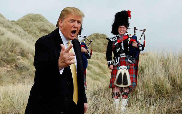 U.S. property mogul Donald Trump gestures during a media event on the sand dunes of the Menie estate, the site for Trump's proposed golf resort, near Aberdeen, north east Scotland May 27, 2010. (Photo by David Moir/Reuters)