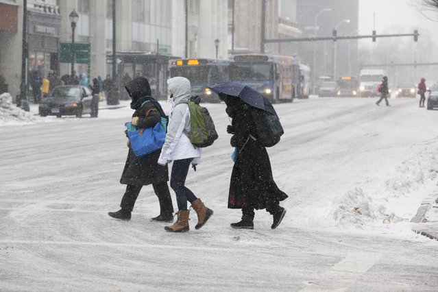 Women walk through falling snow in New Haven, Connecticut January 26, 2015. (Photo by Michelle McLoughlin/Reuters)
