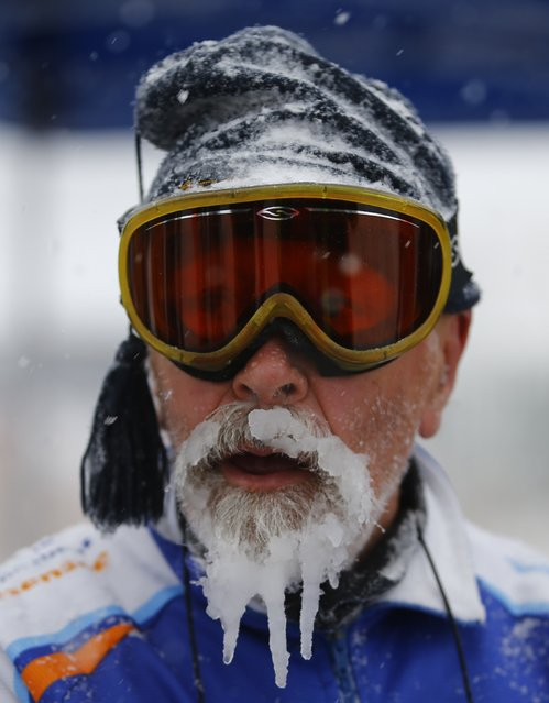 The beard of a skater, one out of some 1,100 athletes, is covered with ice and snow during the 200 km (124 miles) speed skating race in the Carinthian village of Techendorf January 30, 2015. Techendorf is hosting the Alternatieve Elfstedentocht Weissensee (Alternative Eleven City Races Weissensee) races. (Photo by Leonhard Foeger/Reuters)