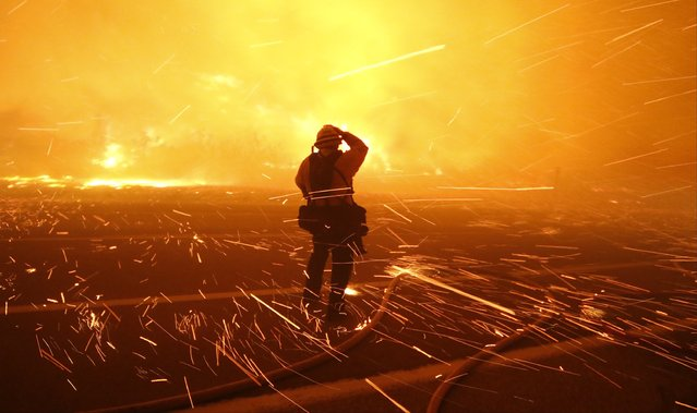 Fire photographer Tod Sudmeier gets hit with flying embers from strong winds at the Solimar brush fire that started early Saturday morning in Ventura County, California December 26, 2015. (Photo by Gene Blevins/Reuters)