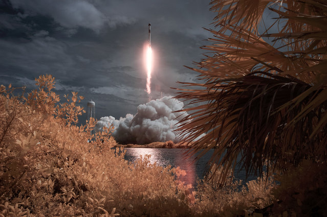 A SpaceX Falcon 9 rocket amd Crew Dragon spacecraft carrying NASA astronauts Robert Behnken and Douglas Hurley lifts off in this false color infrared exposure at the NASA's Kennedy Space Center in Cape Canaveral, Florida, May 30, 2020. (Photo by ill Ingalls/NASA)