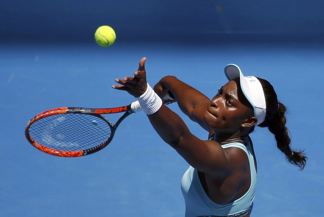 Sloane Stephens of the U.S. serves during her first round match against China's Wang Qiang at the Australian Open tennis tournament at Melbourne Park, Australia, January 18, 2016. (Photo by Issei Kato/Reuters)