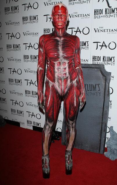 Heidi Klum arrives at her 12th Annual Halloween Party at TAO Nightclub at The Venetian on October 29, 2011 in Las Vegas, Nevada. (Photo by Michael Tran/FilmMagic)