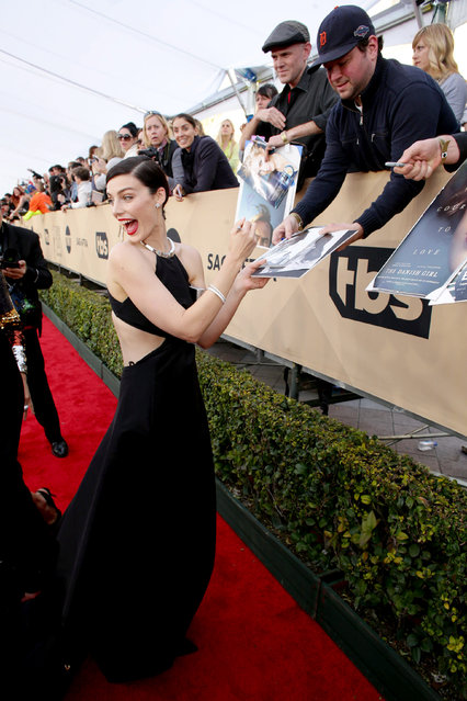 Jessica Pare seen at Red Carpet arrivals for the 22nd Annual SAG Awards at Shrine Auditorium on Saturday, January 30, 2016, in Los Angeles, CA. (Photo by Eric Charbonneau/Invision for People/AP Images)