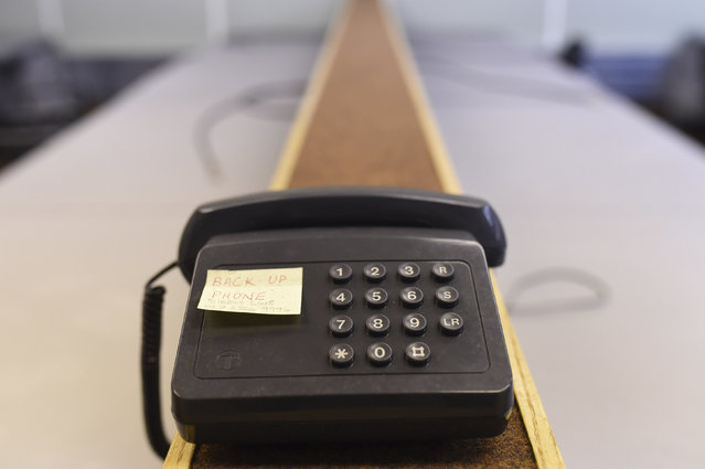 The back-up telephone is seen in a former Regional Government HQ Nuclear bunker built by the British government during the Cold War which  has come up for sale in Ballymena, Northern Ireland on February 4, 2016. (Photo by Clodagh Kilcoyne/Reuters)