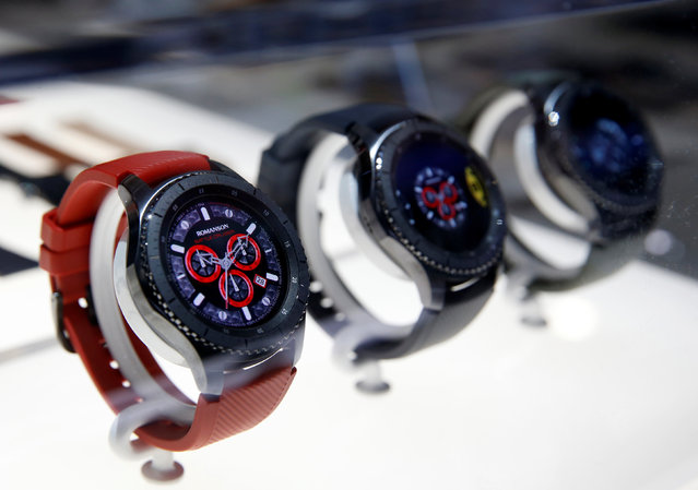 Samsung Gear S3 Frontier smart watches are displayed during the 2017 CES in Las Vegas, Nevada, January 5, 2017. (Photo by Steve Marcus/Reuters)
