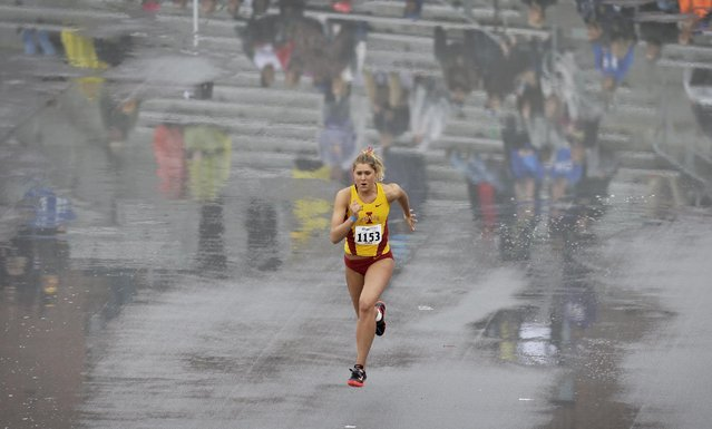 Iowa State's Hannah Willms makes her approach in the women's high jump at the Drake Relays athletics meet, Friday, April 24, 2015, in downtown Des Moines, Iowa. (Photo by Charlie Neibergall/AP Photo)