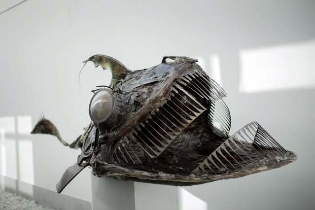 A sculpture of a fish made from waste products collected from the sea is displayed during the exhibition Keep The Oceans Clean by art collective Skeleton Sea, at the Torre Madariaga Biodiversity Centre in Busturia, Spain, May 17, 2015. (Photo by Vincent West/Reuters)
