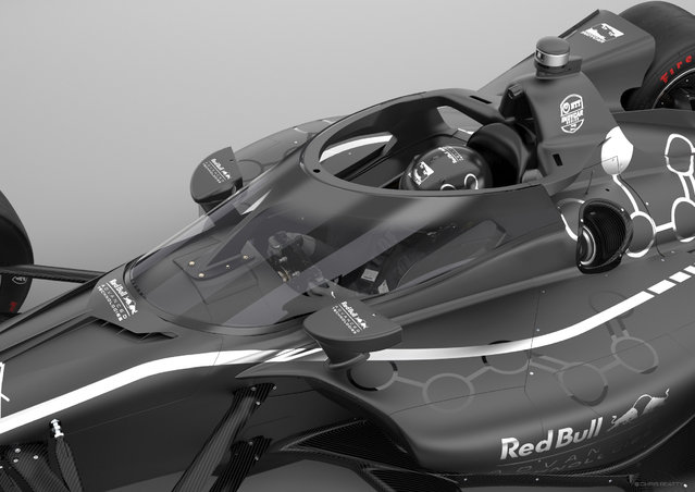 "This artists rendering provided by IndyCar shows an IndyCar featuring an aeroscreen (windshield). IndyCar will use an ""Aeroscreen"" developed by Red Bull Advanced Technologies for cockpit protection beginning next season. The safety piece will cover the cockpit with a ballistic screen anchored by titanium framework. (Photo by Chris Beatty/IndyCar via AP Photo)"