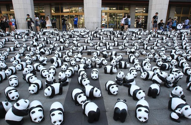"""Pandas are seen on May 23, 2015 in Seoul, South Korea. The project now newly renamed as """"1600 PANDAS+"""" is a collaboration which began in 2008 between WWF-France and artist Paulo Grangeon, who handcrafted 1600 pandas, visualizing the number of existing pandas left in the wild with recycled materials to make papier-mache sculptures. (Photo by Chung Sung-Jun/Getty Images)"""