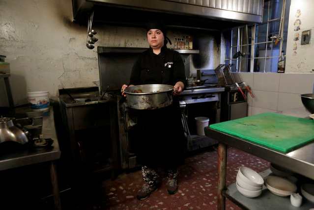 """Ivonne Quintero, a chef, poses for a photograph at a restaurant in Mexico City, Mexico, February 26, 2017. """"There are many limitations in the kitchen for being female. I had two men under my charge and they did not do what I asked them to do in the kitchen because I was a woman"""", said Quintero. (Photo by Henry Romero/Reuters)"""