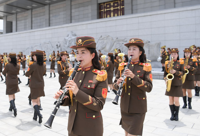 A military band prepares to welcome General Secretary of the Central Committee of the Communist Party of China and Chinese President Xi Jinping at the square of the Kumsusan Palace of the Sun in Pyongyang, capital of the Democratic People's Republic of Korea (DPRK), June 20, 2019. Xi arrived here Thursday for a state visit to the DPRK. (Photo by Xinhua News Agency/Barcroft Media)