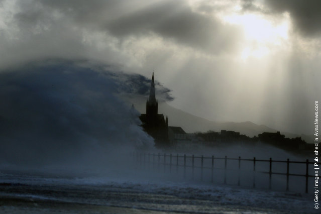 Largs promenade is battered by winds in Largs, Scotland
