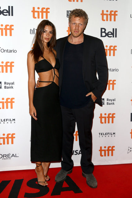 "Emily Ratajkowski and Sebastian Bear-McClard attend the ""Uncut Gems"" premiere during the 2019 Toronto International Film Festival at Princess of Wales Theatre on September 09, 2019 in Toronto, Canada. (Photo by Tasos Katopodis/Getty Images)"