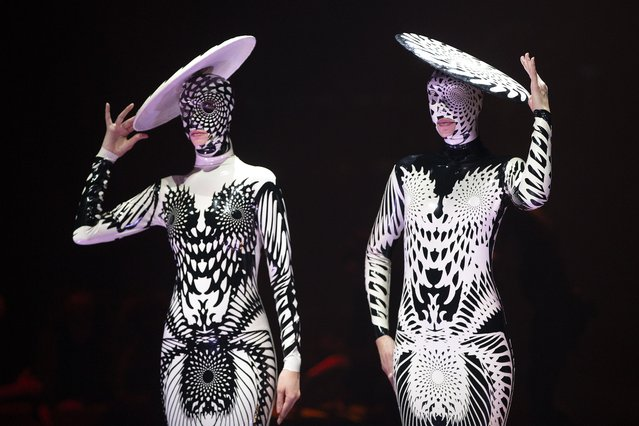 Gemini: the Twins, by Dawn Mostow and Ben Gould of the United States, is modelled in the Avant-garde Section during the World of WearableArt Opening Night 2019 at TSB Bank Arena on September 26, 2019 in Wellington, New Zealand. (Photo by Hagen Hopkins/Getty Images for World of WearableArt)