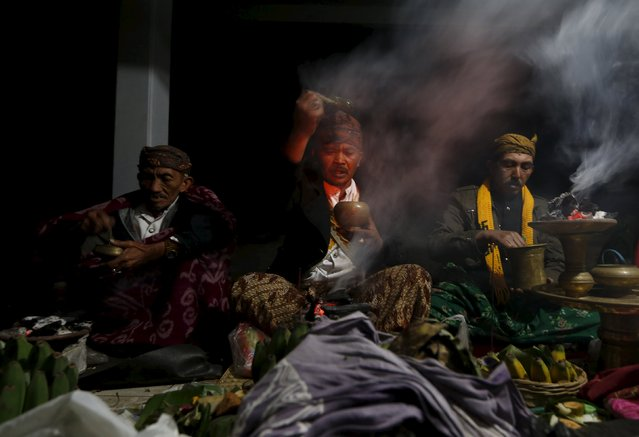 Tenggerese shamans pray during the Kasada Festival at Mount Bromo in Probolinggo, Indonesia's East Java province, August 1, 2015. (Photo by Reuters/Beawiharta)