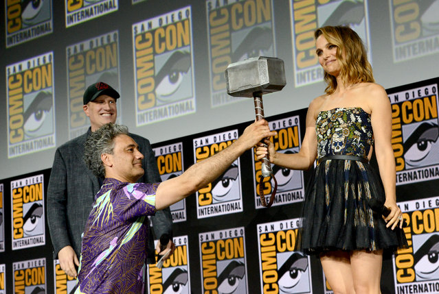 (L-R) Kevin Feige, Taika Waititi and Natalie Portman speak at the Marvel Studios Panel during 2019 Comic-Con International at San Diego Convention Center on July 20, 2019 in San Diego, California. (Photo by Albert L. Ortega/Getty Images)
