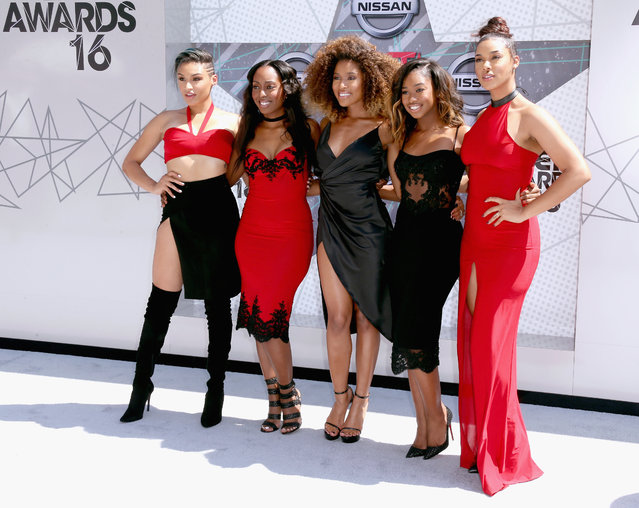 (L-R) Singers Kristal Lyndriette, Ashley Williams, Shyann Roberts, Brienna DeVlugt and Gabby Carreiro of June's Diary attend the 2016 BET Awards at the Microsoft Theater on June 26, 2016 in Los Angeles, California. (Photo by Frederick M. Brown/Getty Images)
