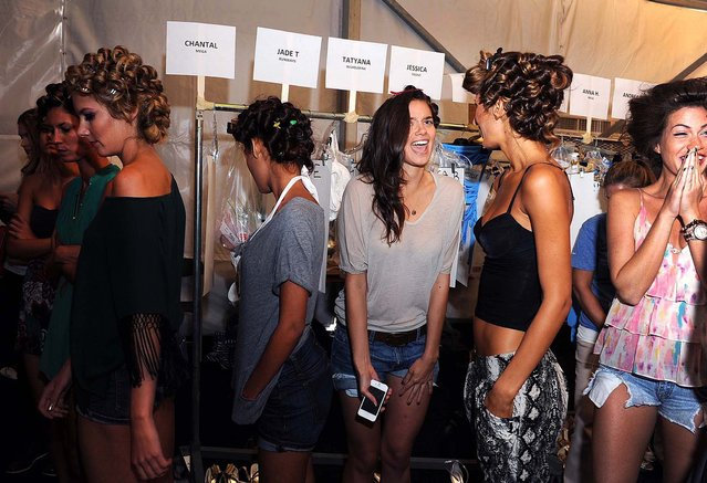 Models wait backstage for the Lisa Blue show to begin. (Meghan McCarthy/The Palm Beach Daily News)</a>