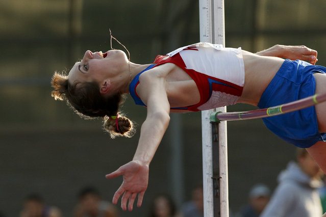 Natalya Aksyonova makes an attempt in the women's high jump during the Russian Stars 2016 track and field competitions in Moscow, Russia, Thursday, July 28, 2016. Aksyonova is among the more than 100 athletes who have been barred from competing in the Rio Olympic Games by international sports federations under sanctions which most Russian athletes consider unfair. (Photo by Alexander Zemlianichenko/AP Photo)