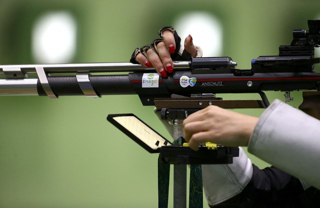 2016 Rio Olympics, Shooting, Preliminary, Women's 10m Air Rifle Qualification, Olympic Shooting Centre, Rio de Janeiro, Brazil on August 6, 2016. Esther Barrugues (AND) of Andorra competes. (Photo by Jeremy Lee/Reuters)