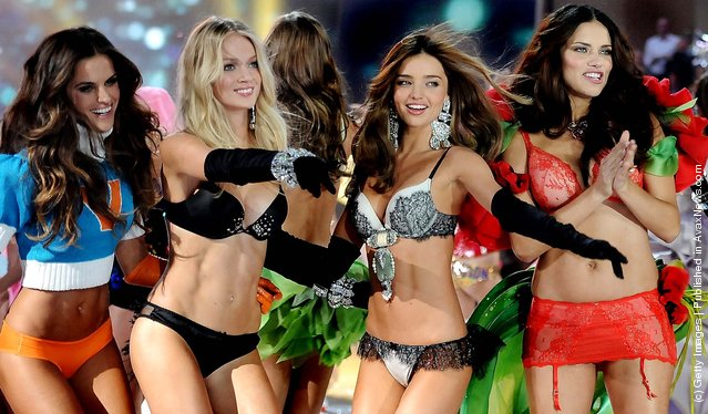 Izabel Goulart, Lindsay Ellingson, Miranda Kerr and Adriana Lima walk the runway during the 2012 Victoria's Secret Fashion Show. (Photo by Charles Sykes/Evan Agostini)