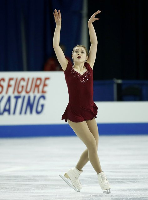 Alaine Chartrand of Canada performs during the ladies' free skating program at the Skate America figure skating competition in Milwaukee, Wisconsin October 24, 2015. (Photo by Lucy Nicholson/Reuters)