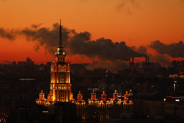 A view of Radisson Collection Hotel building, one of seven Stalinist skyscrapers in Moscow as sun is rising over Red Square of Moscow, Russia on November 09, 2020. (Photo by Sefa Karacan/Anadolu Agency via Getty Images)