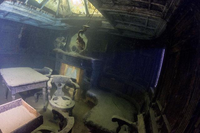 Becky Kagan Schott and her team dived an incredible 270 feet deep to reach the Gunilda and photograph her remains. (Photo by Becky Kagan Schott/Caters News Agency)