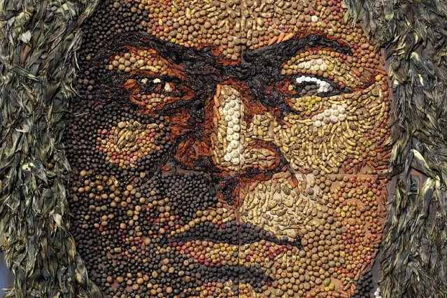 An image, made of vegetables, of indigenous hero Tupac Katari is displayed as part of an Andean ceremony of Bolivia's President Evo Morales in Tiahuanaco some 70 km from La Paz, January 21, 2015. (Photo by David Mercado/Reuters)