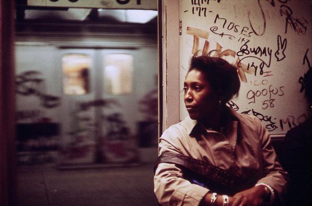 Interior of a graffiti-marked subway car, May 1973. (Photo by Erik Calonius/NARA via The Atlantic)