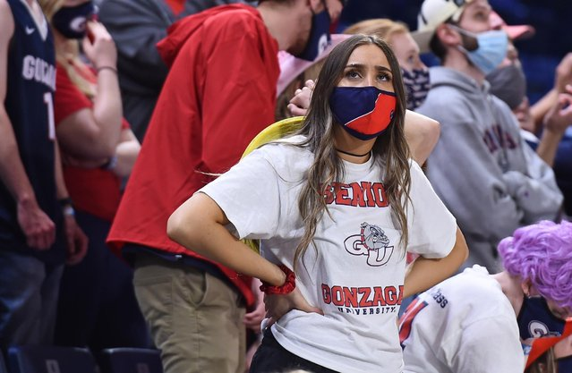 A Gonzaga Bulldogs student reacts after a Bulldog turnover against Baylor in the National Championship game of the 2021 NCAA Men's Basketball Tournament at Lucas Oil Stadium on April 05, 2021 in Indianapolis, Indiana. (Photo by  James Snook/USA TODAY Sports)