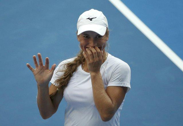 Kazakhstan's Yulia Putintseva reacts after winning her first round match against Denmark's Caroline Wozniacki at the Australian Open tennis tournament at Melbourne Park, Australia, January 18, 2016. (Photo by Issei Kato/Reuters)