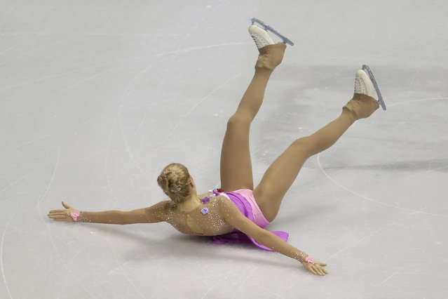 Lutricia Bock of Germany falls down as she performs during the ladies short program at the ISU European Figure Skating Championship in Bratislava, Slovakia, January 27, 2016. (Photo by David W. Cerny/Reuters)
