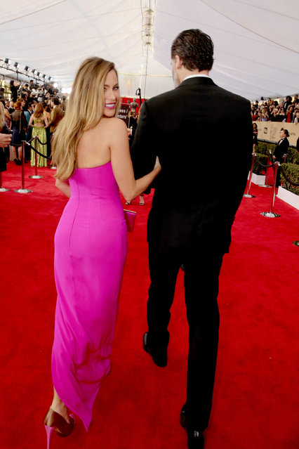 Sofia Vergara and Joe Manganiello seen at Red Carpet arrivals for the 22nd Annual SAG Awards at Shrine Auditorium on Saturday, January 30, 2016, in Los Angeles, CA. (Photo by Eric Charbonneau/Invision for People/AP Images)